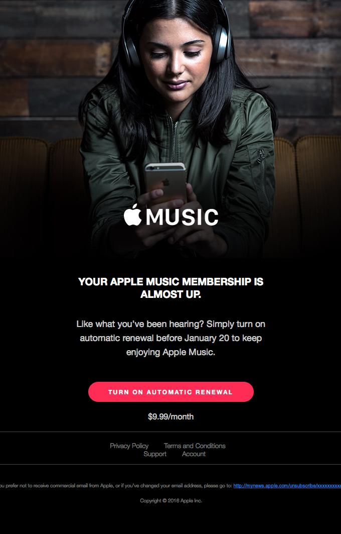 Apple Music renewal reminder email