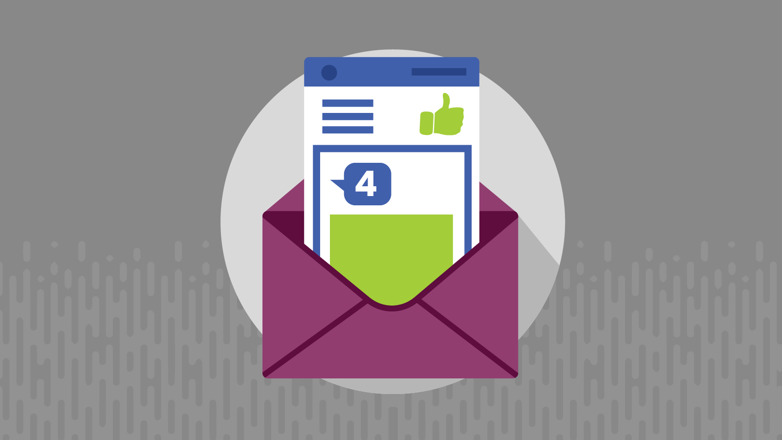 email envelope with comment bubble and thumbs-up