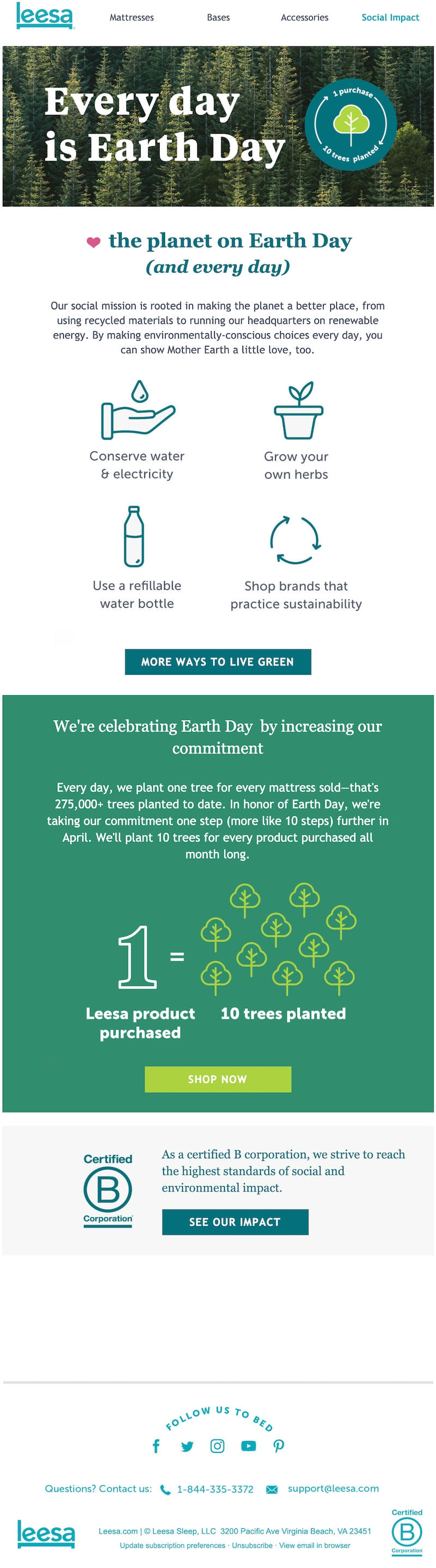 leesa earth day email