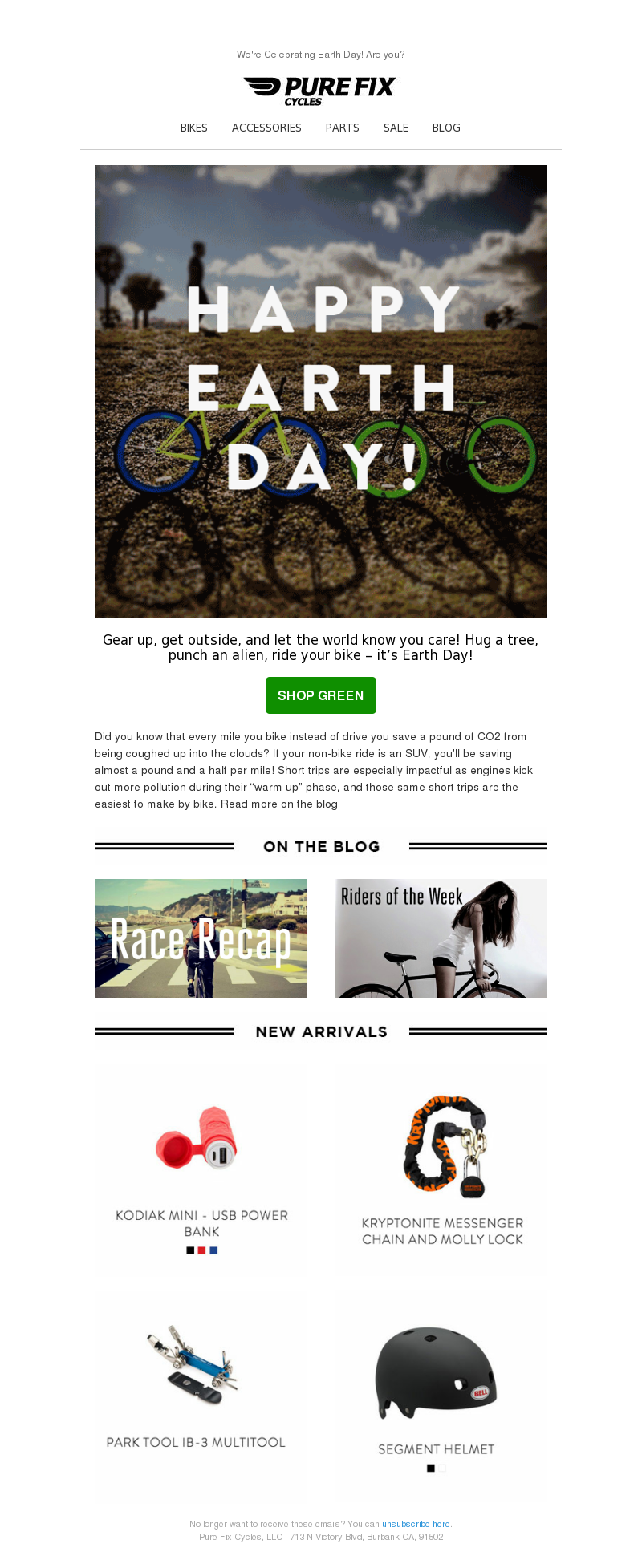 happy earth day email with bikes