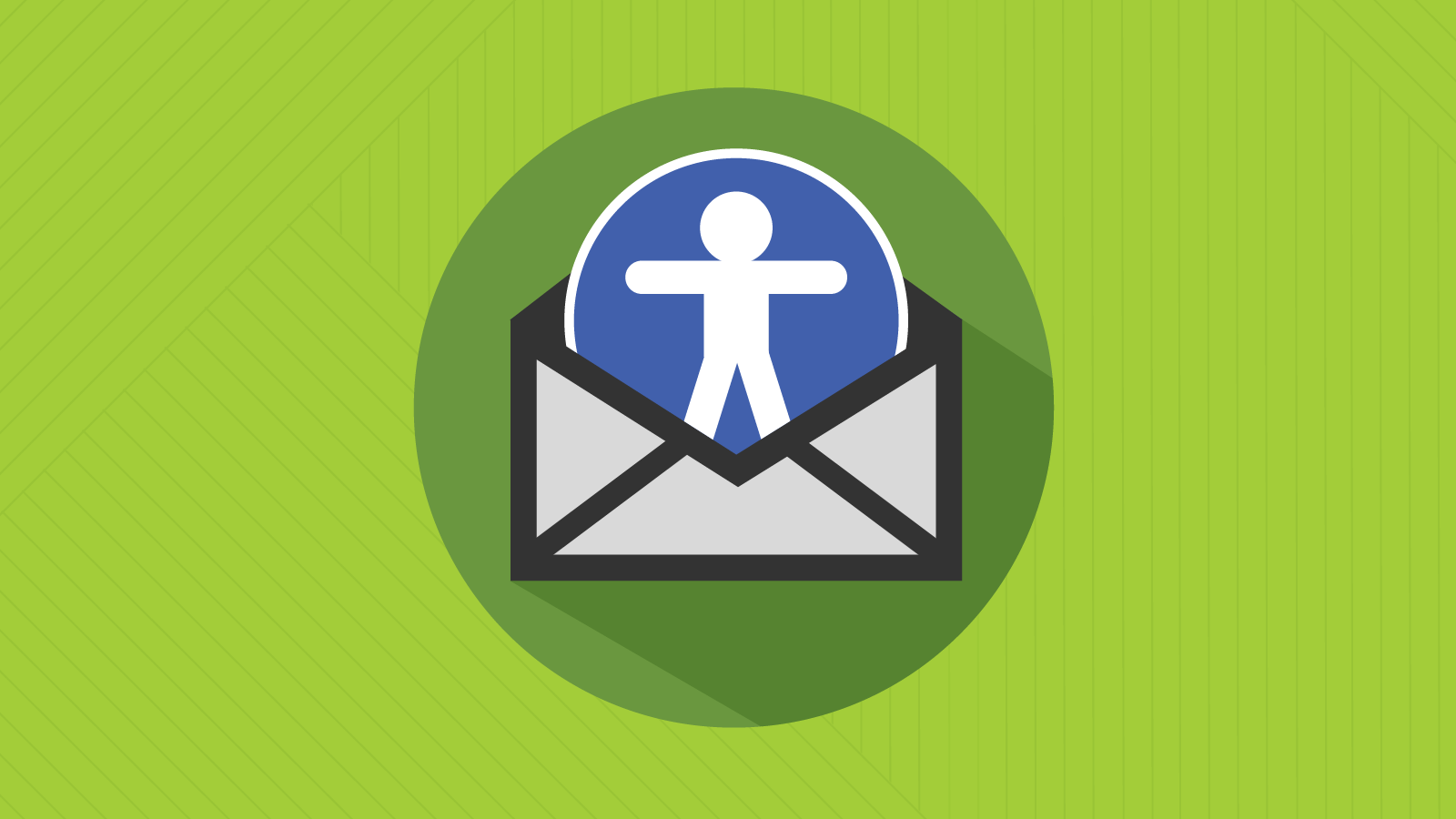 accessibility icon emerges from an email envelope