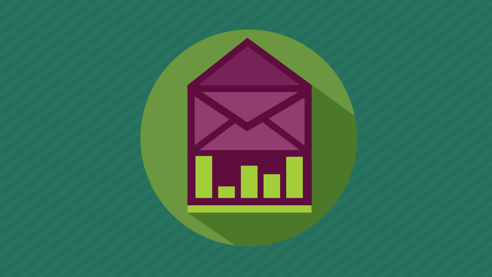 bar graph and envelope illustrating email data