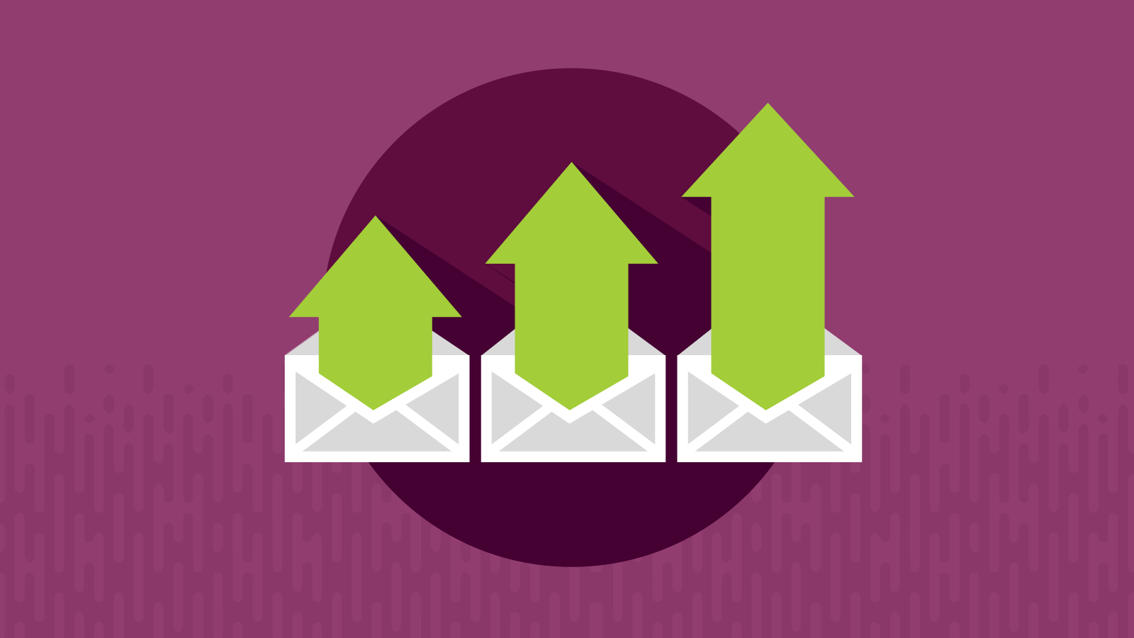 three up arrows from envelopes for increased email open rates