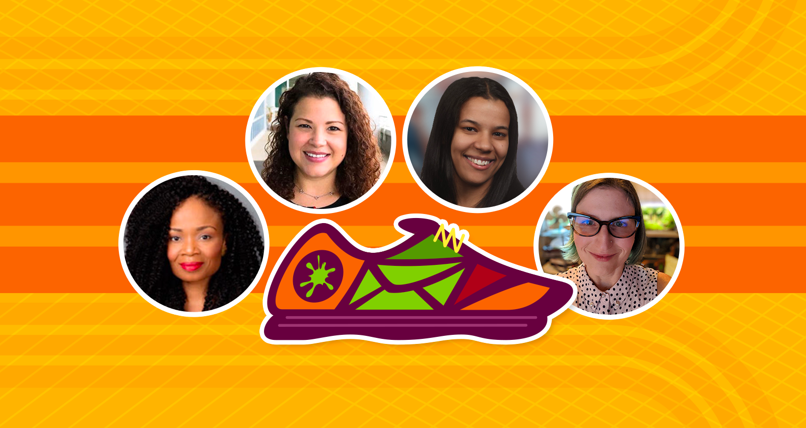 four webinar panelist photos surround shoe icon