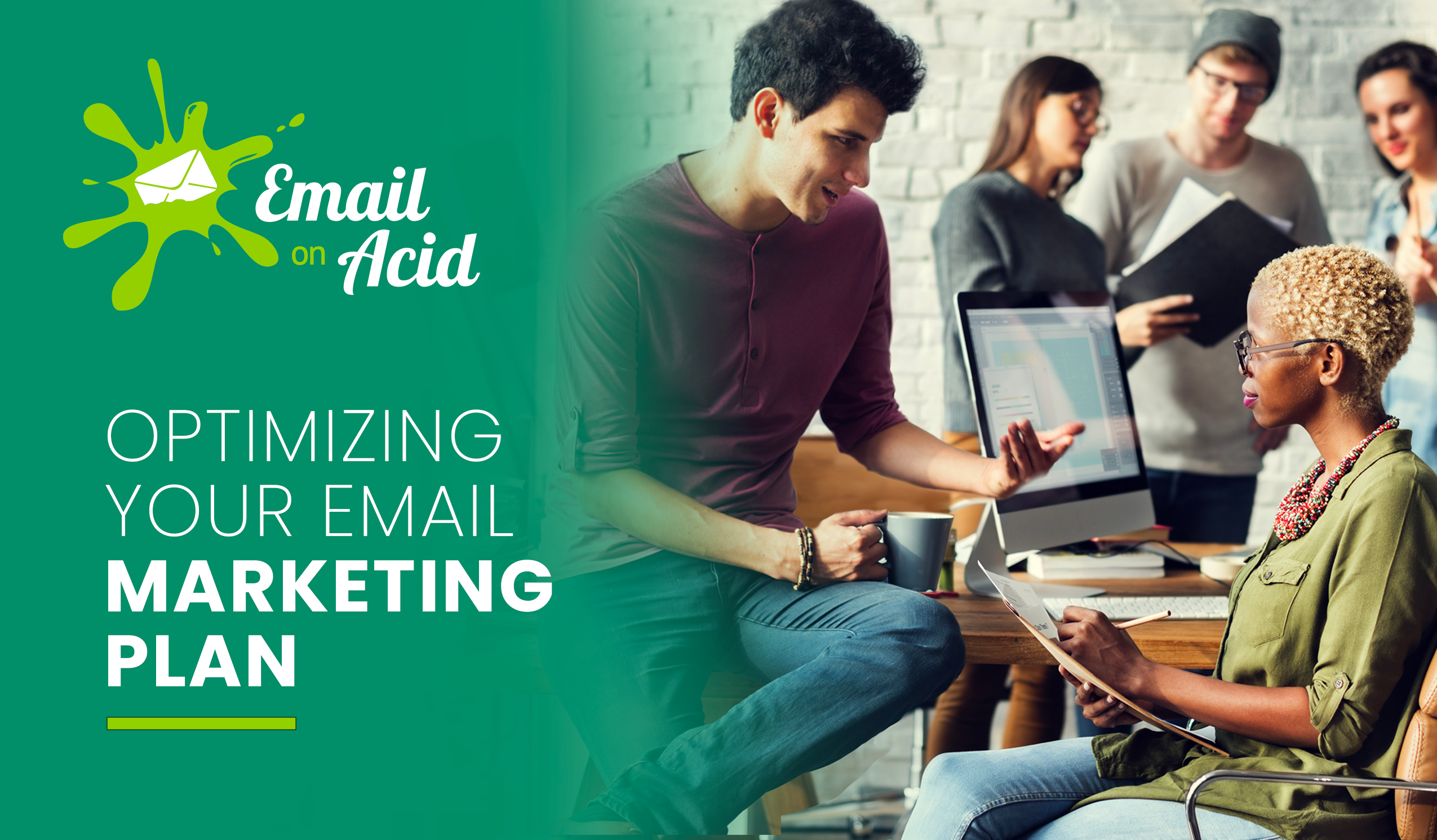 Colleagues discuss email marketing optimization.