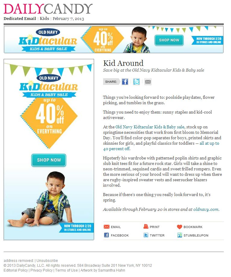 old navy email from 2013