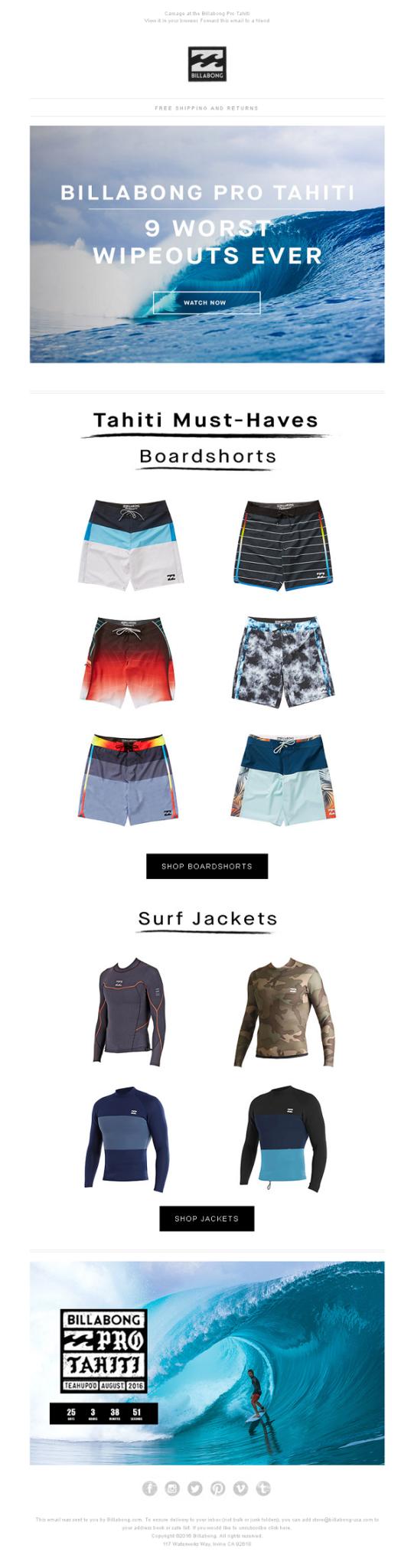 Billabong summer email campaign design