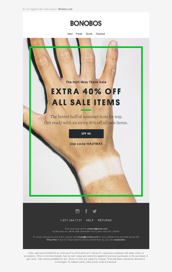bonobos summer email with wrist tanline image