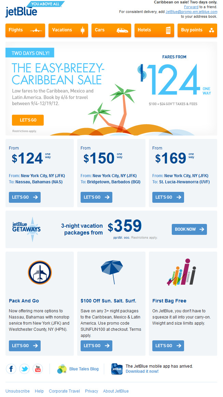 jetblue email promotion form 2012