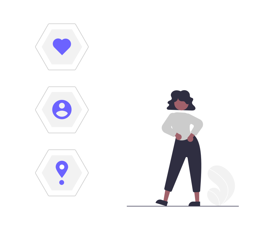 illustrated woman next to personal data icons