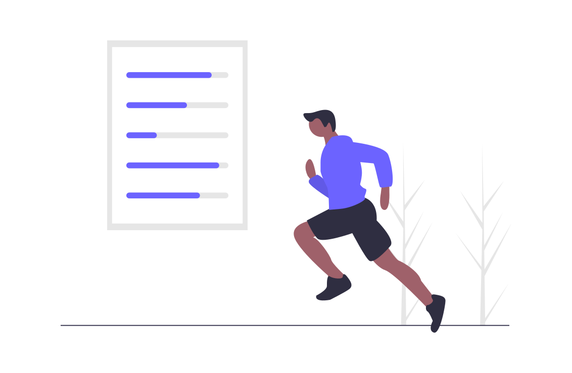 runner next to actionable email marketing data
