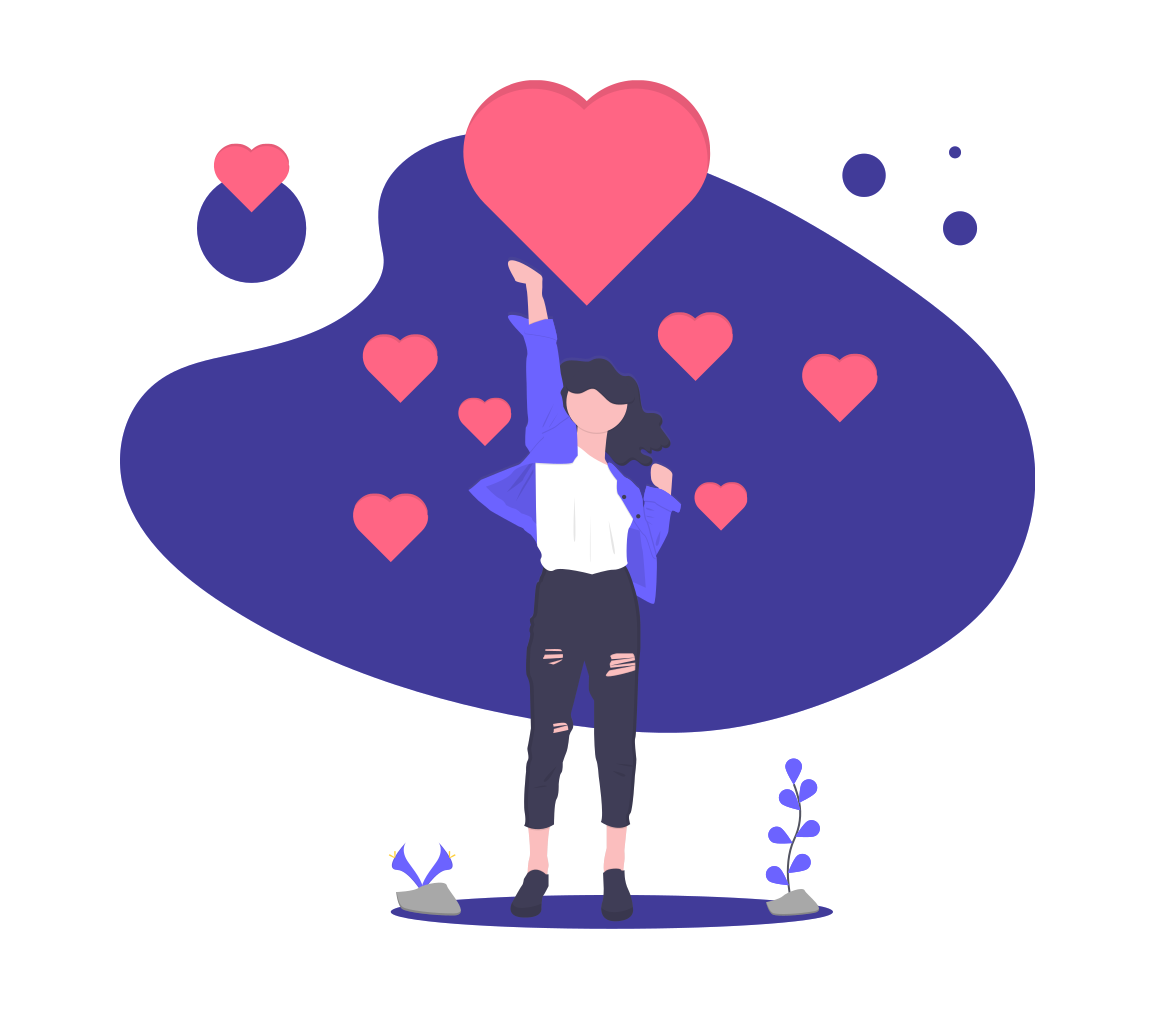 woman with hearts who loves a newsletter