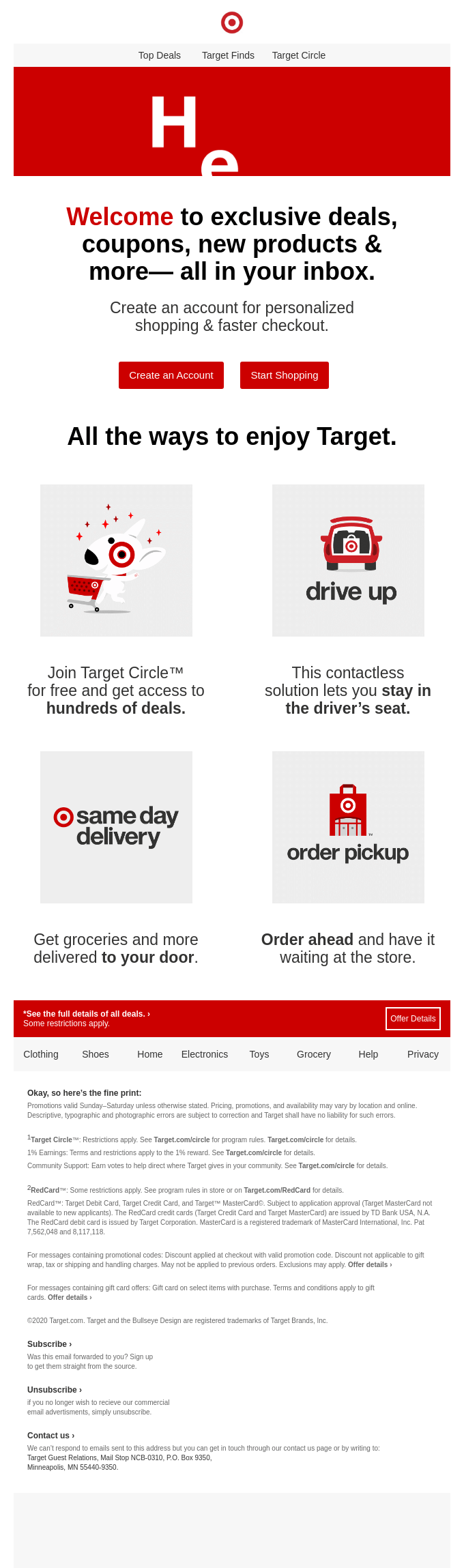 Target deals welcome email