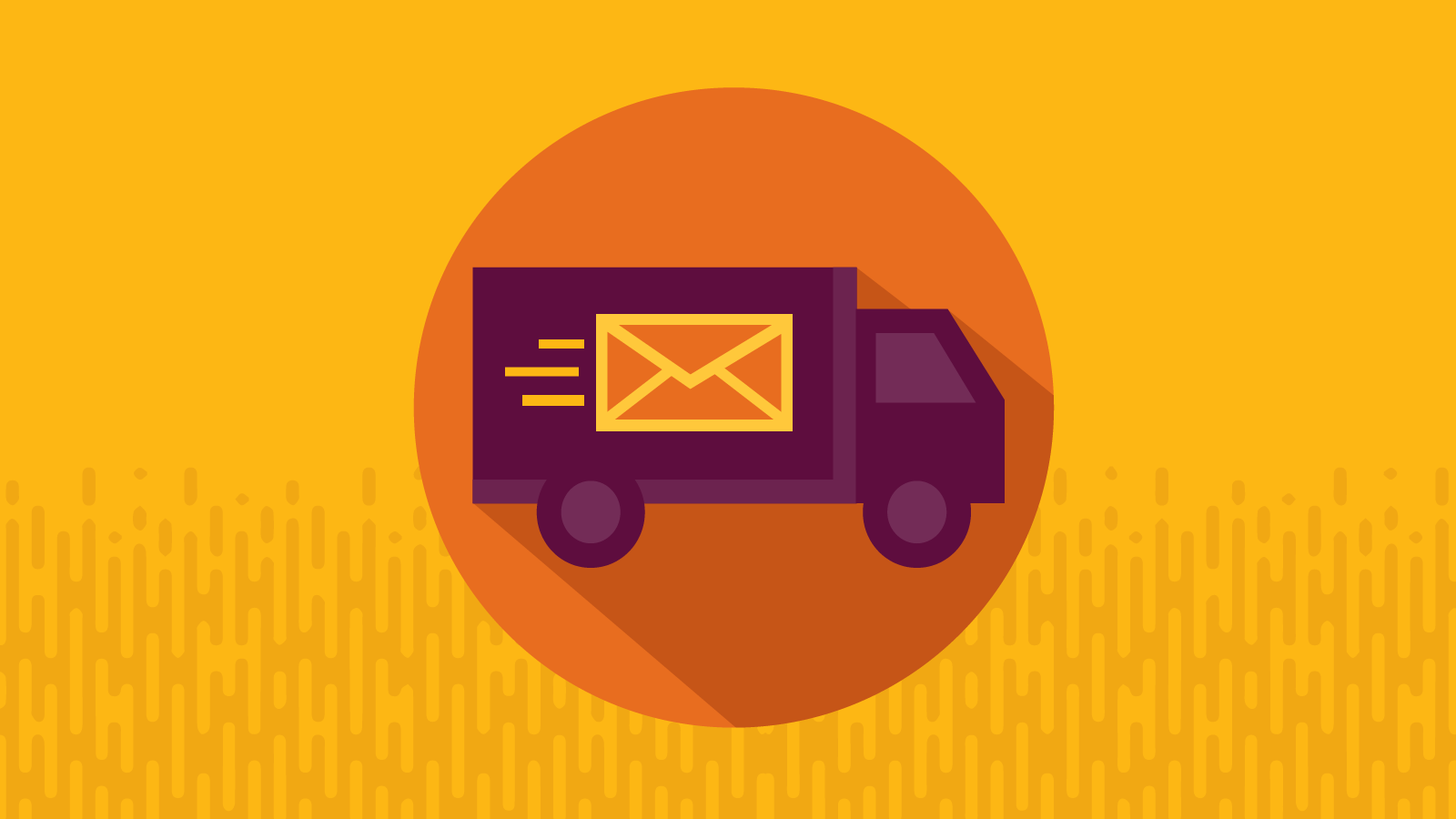 delivery truck with email envelope on the side.