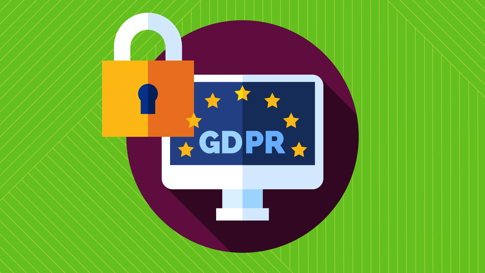 GDPR logo on a computer screen with a security padlock