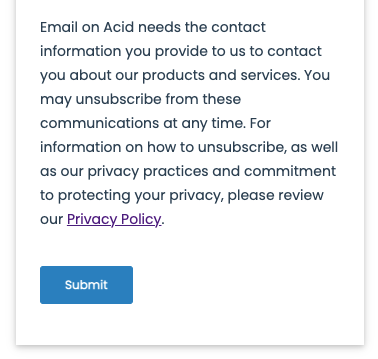 Screenshot of Email on Acid's notice at collection for CCPA compliance.