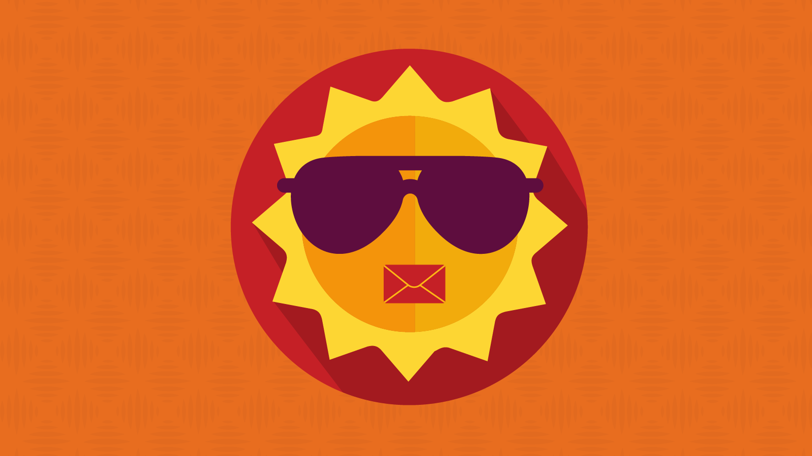 sun with shades and an email envelope mouth