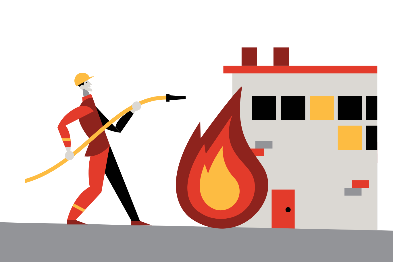 illustration of a firefighter with a hose pointed at a flame.