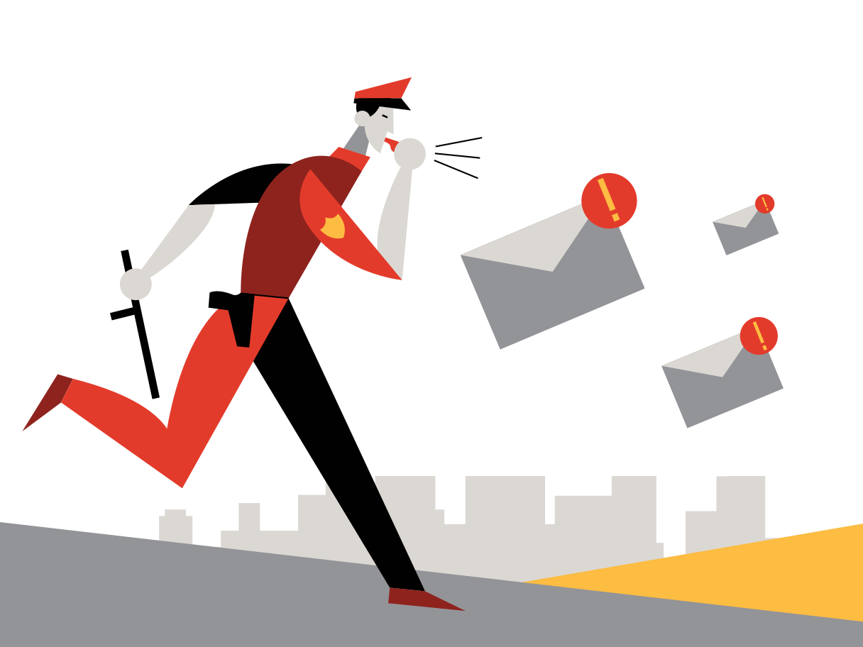 illustration of a first responder chasing email crisis messages