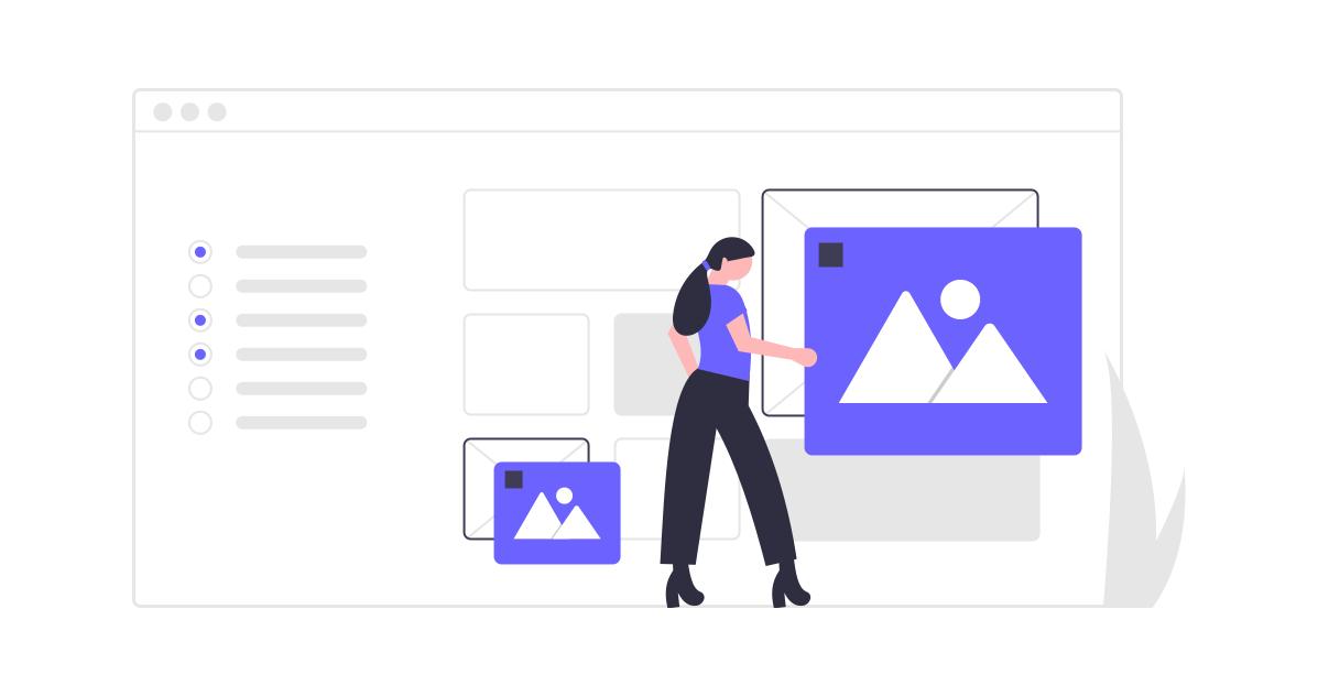 Illustration of woman managing digital design assets for email.