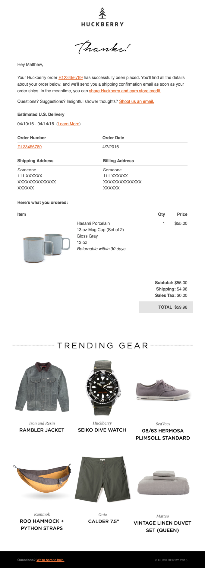 CAN-SPAM compliant Huckberry transactional email with promotion
