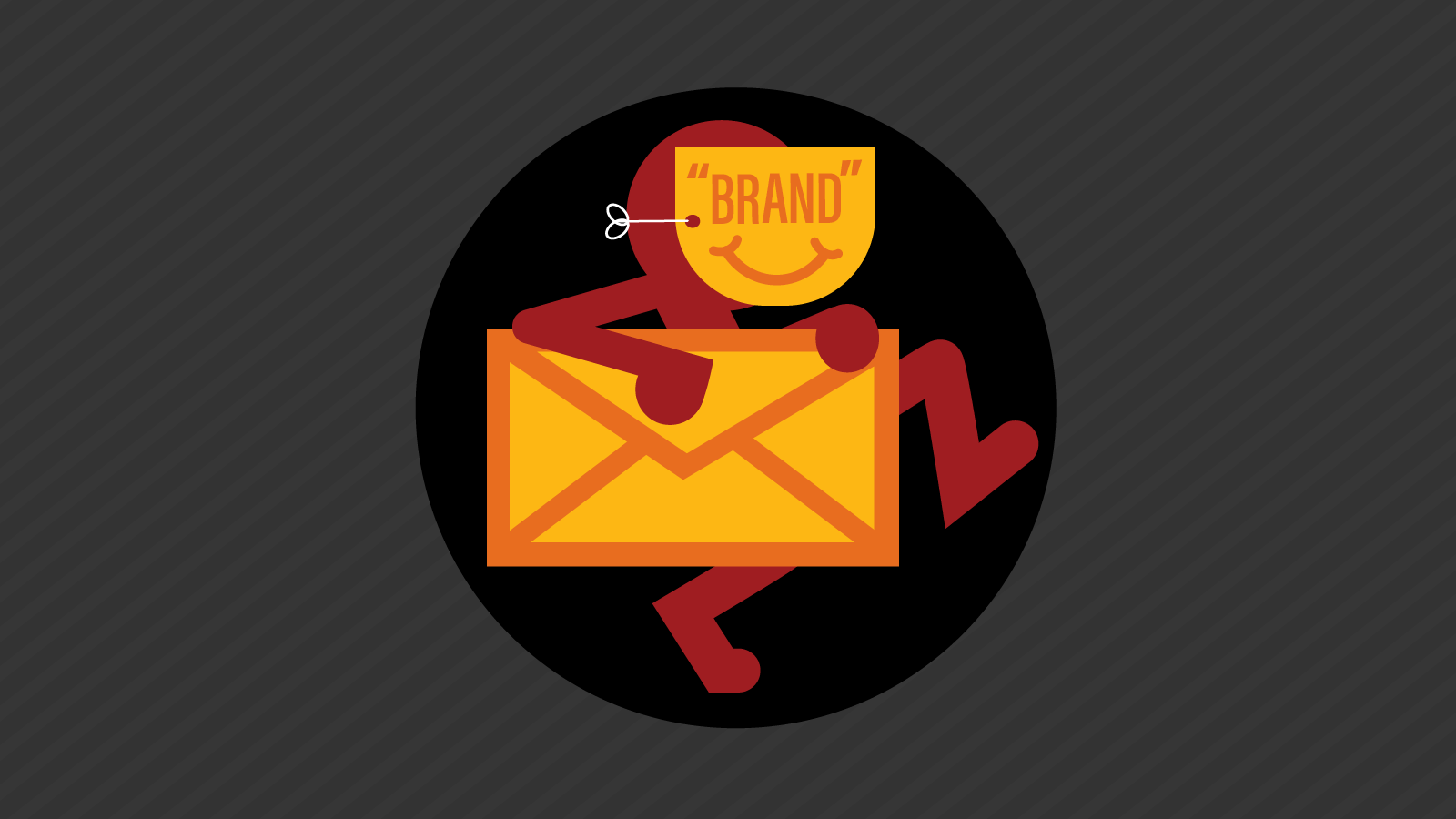 Stick figure wearing a mask tries to spoof a brand's email