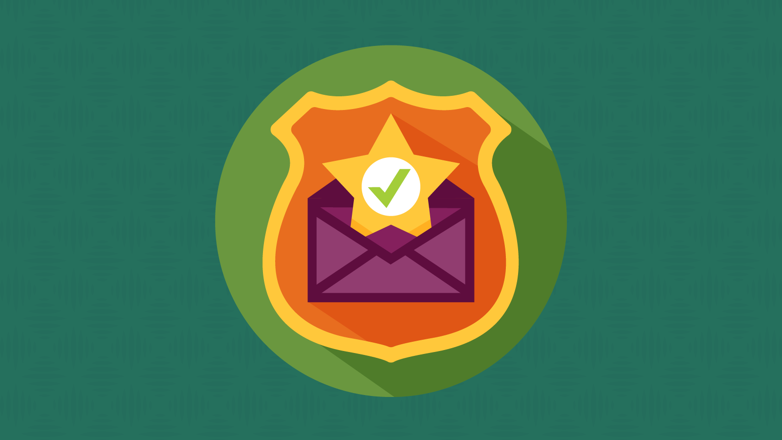 Badge in an email envelope indicating a DMARC policy