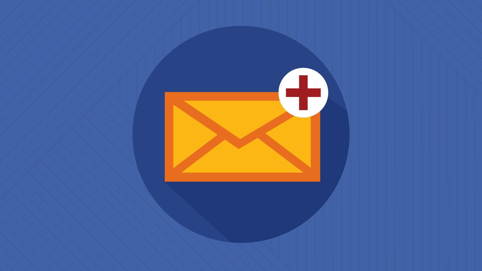 Orange email envelope with medical symbol