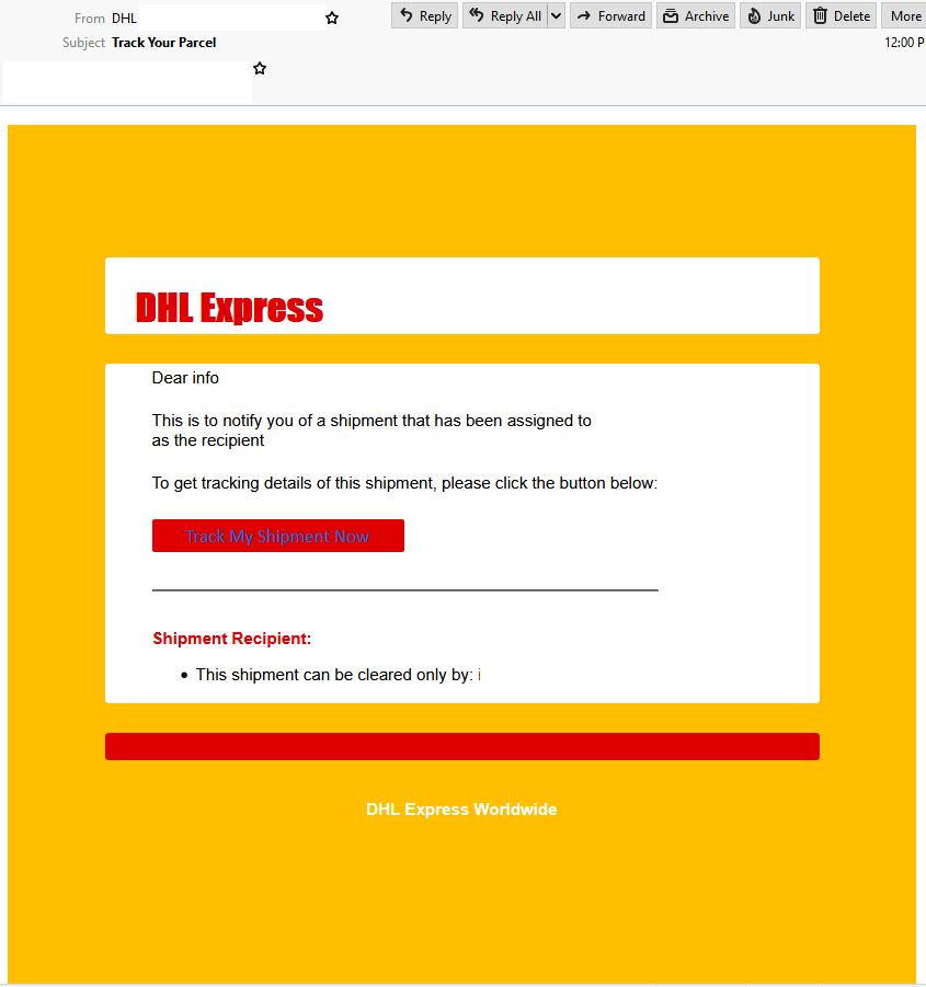 DHL email spoofing example
