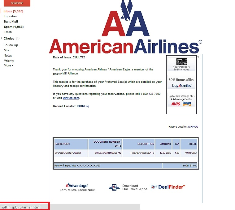 American Airlines email spoofing example