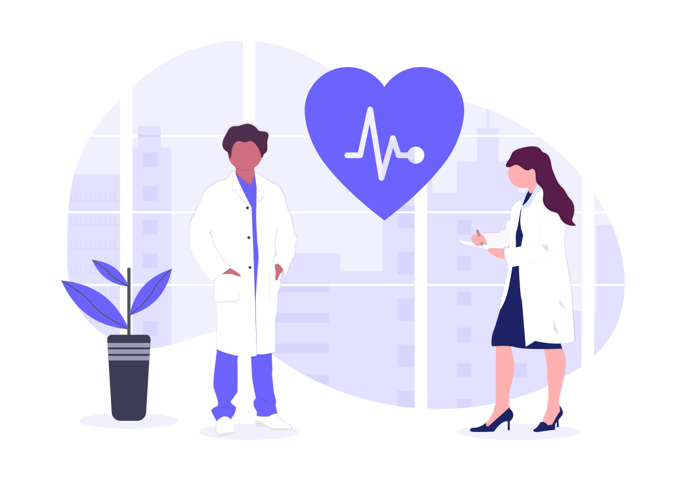 illustration of caring healthcare providers in white labcoats