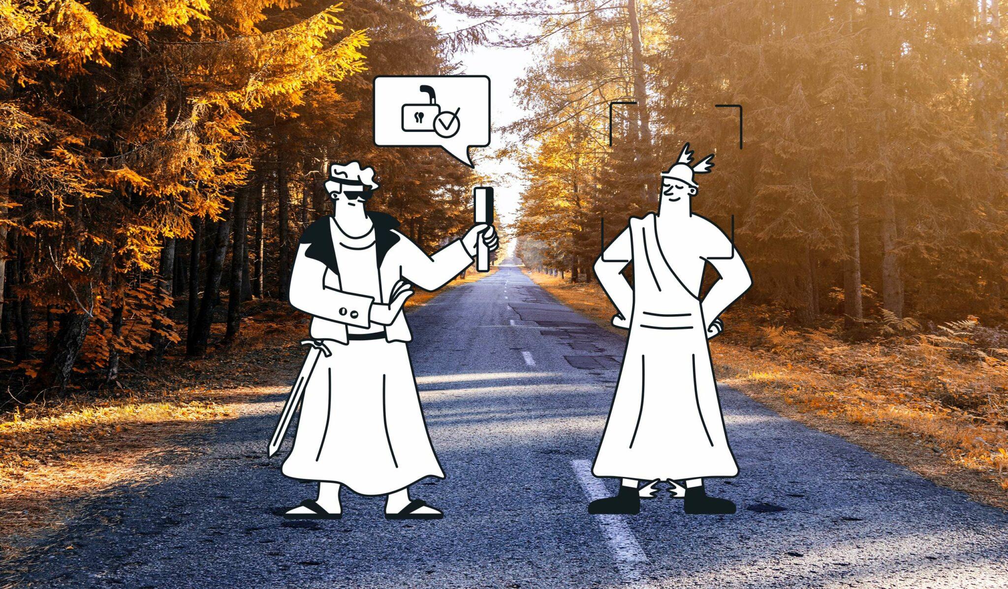 Greek god cartoon characters on wooded path