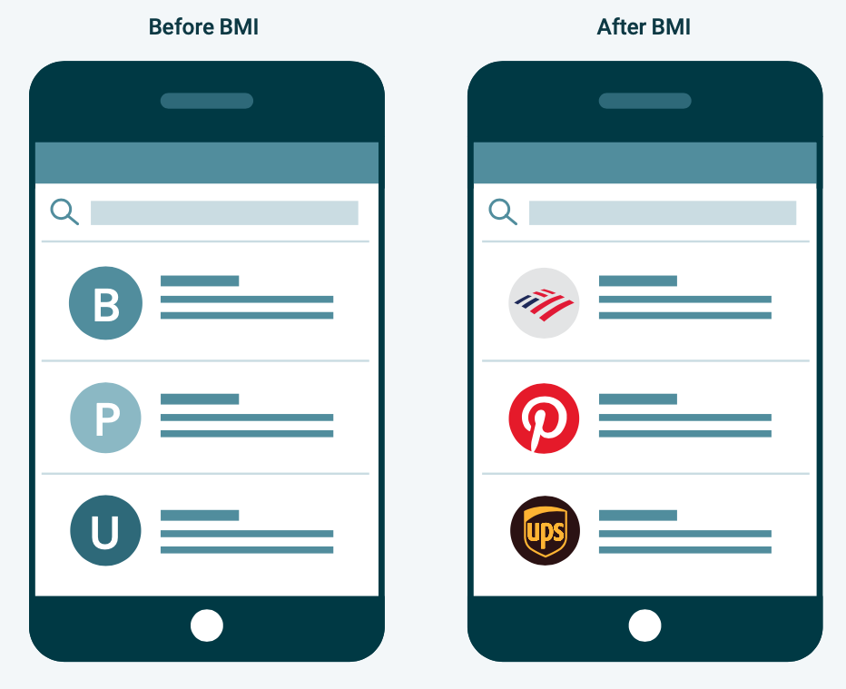 Mobile devices show experience before and after BIMI logos