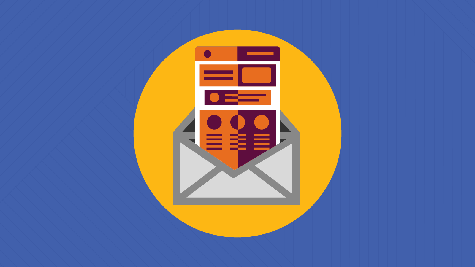 Illustration of email design with contrasting colors