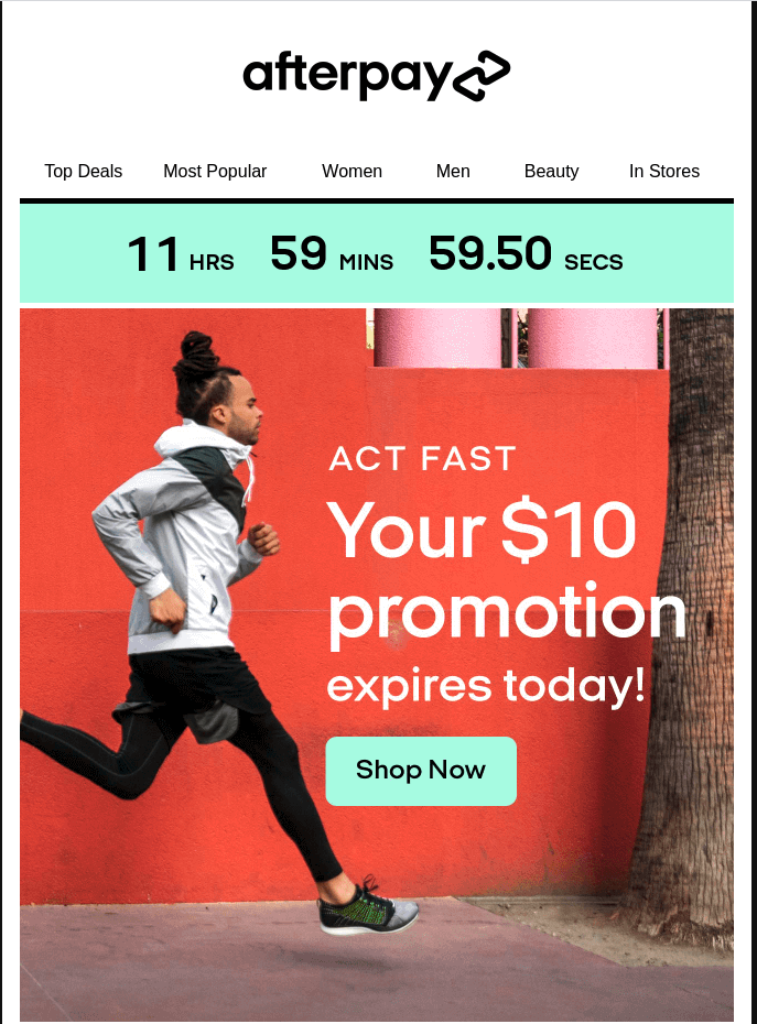 Example of retail email showing dynamic content with a promotional countdown clock.