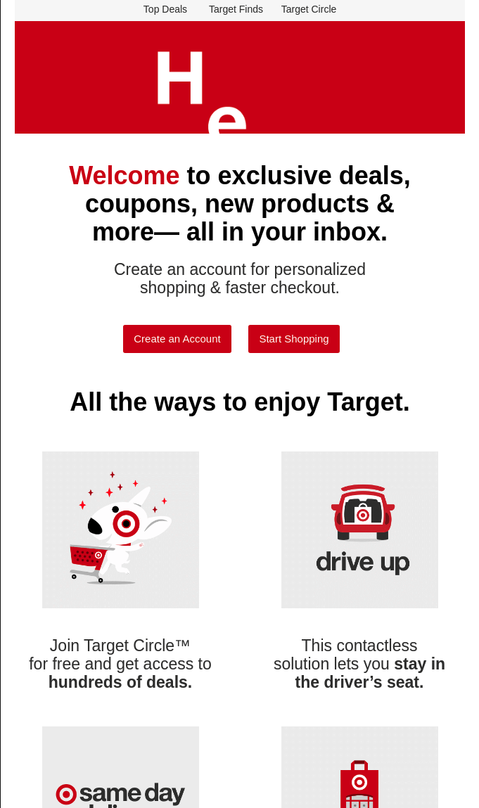 Target welcome email screenshot