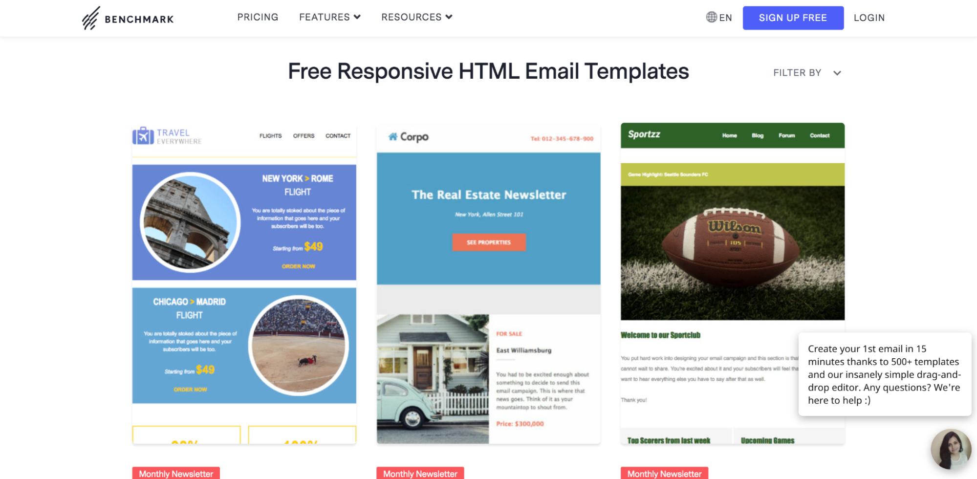 Benchmark email templates