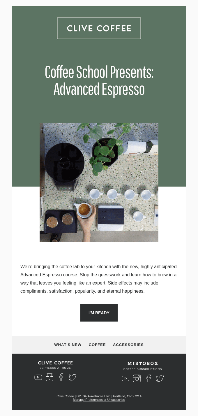educational email screenshot from a coffee retailer on how to make espresso.