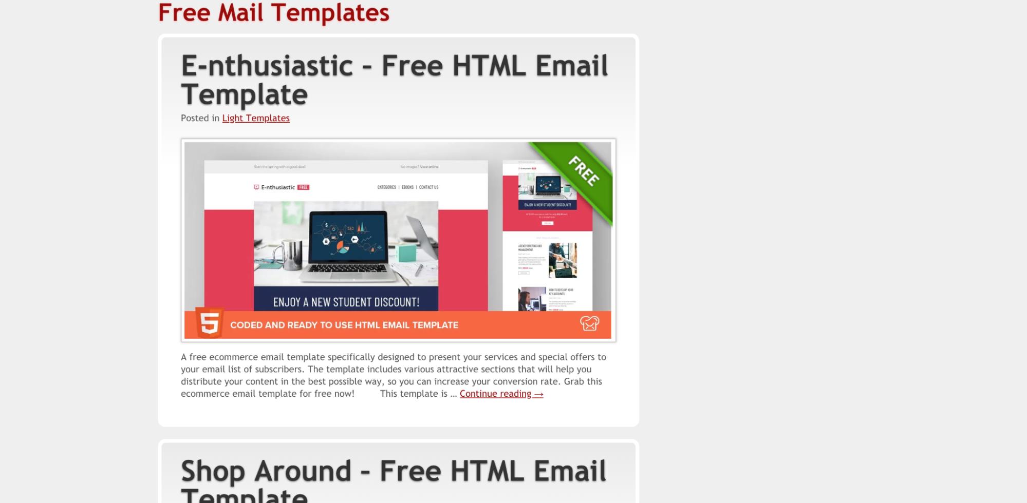 Free mail templates screenshot