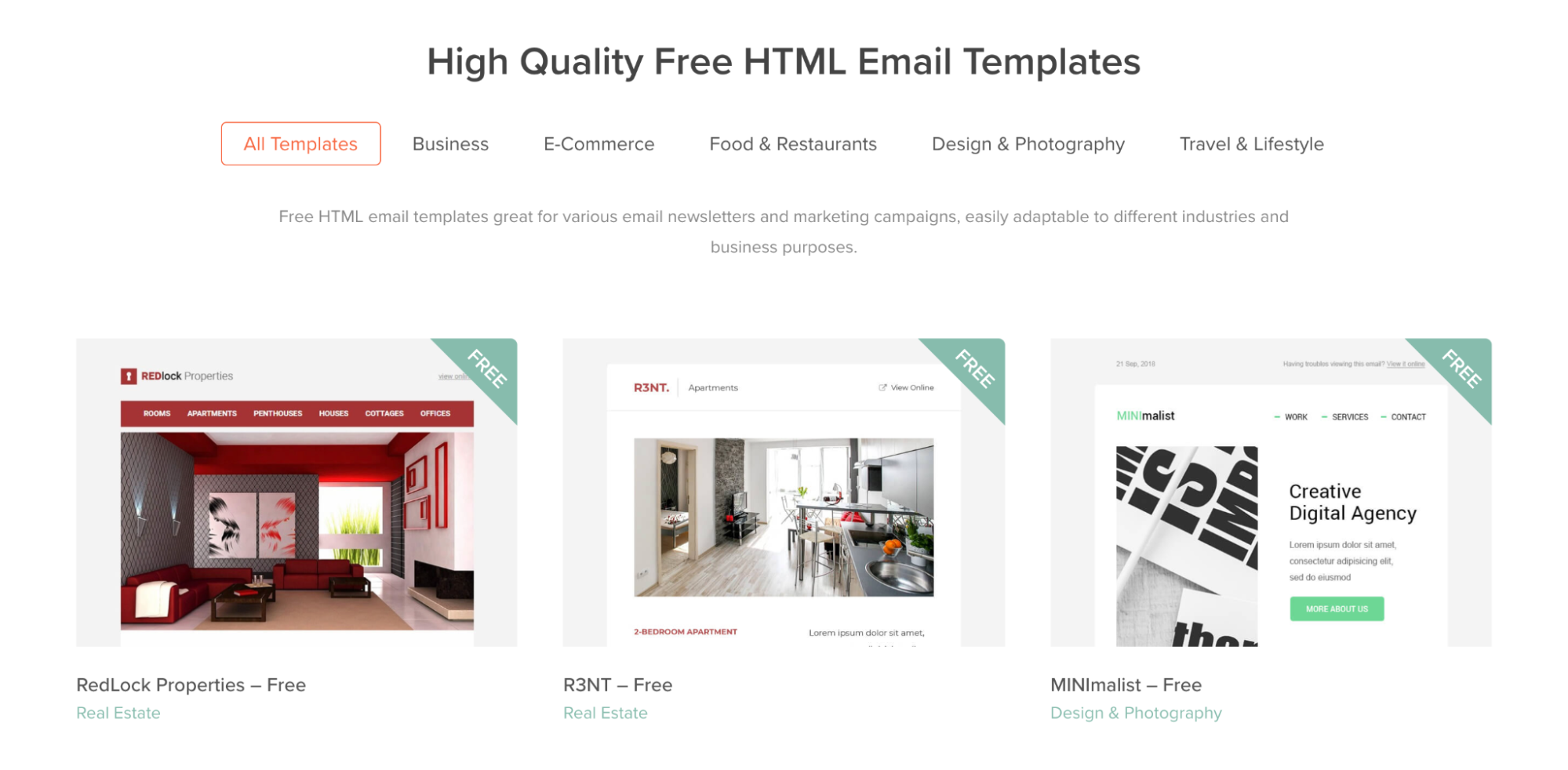 Mailbakery email template examples