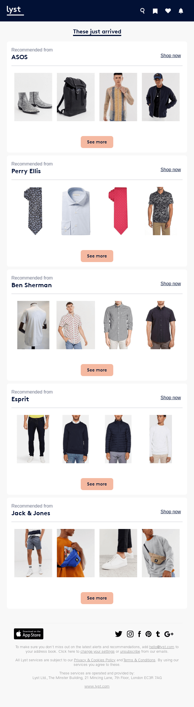 Retail email screenshot with fashion product recommendations.