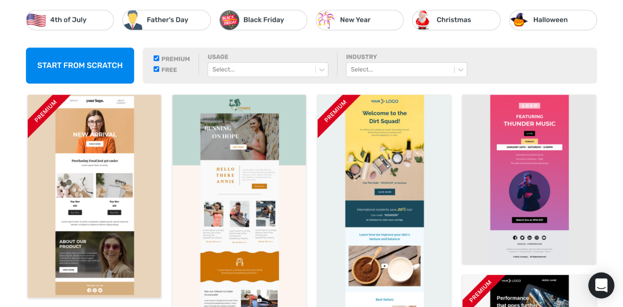 unlayer free templates for email
