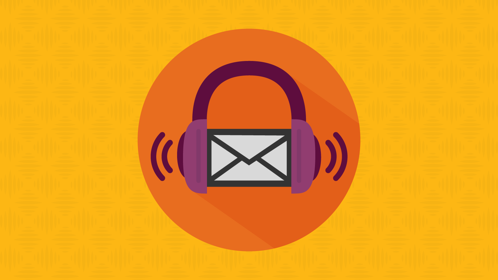 Email envelope wearing headphones, listening to screen reader