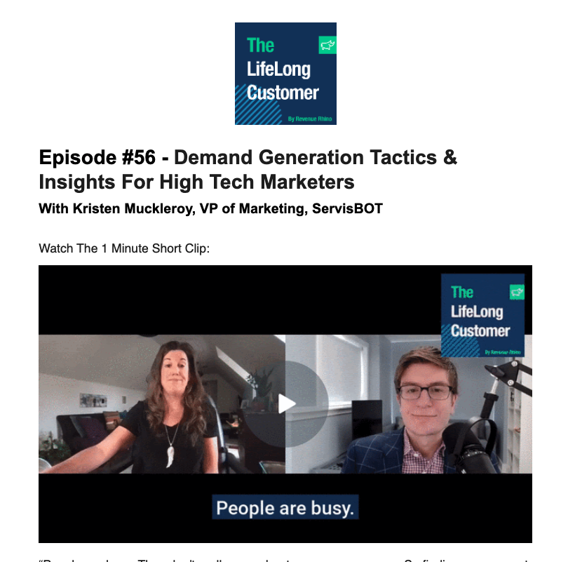 Lifelong Podcast email with captioned GIF of video interview