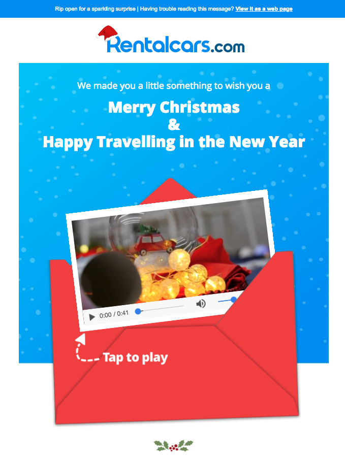 Rentalcar email with video call out graphic
