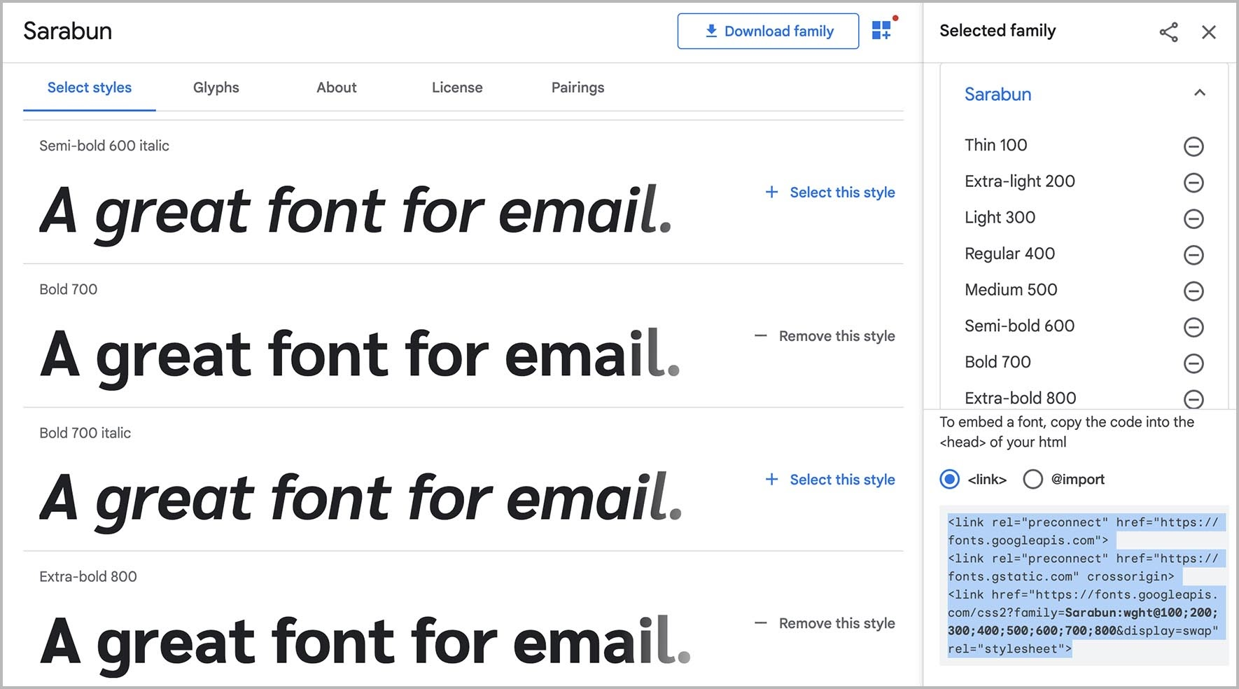 Finding code for the <link> method in Google Fonts.
