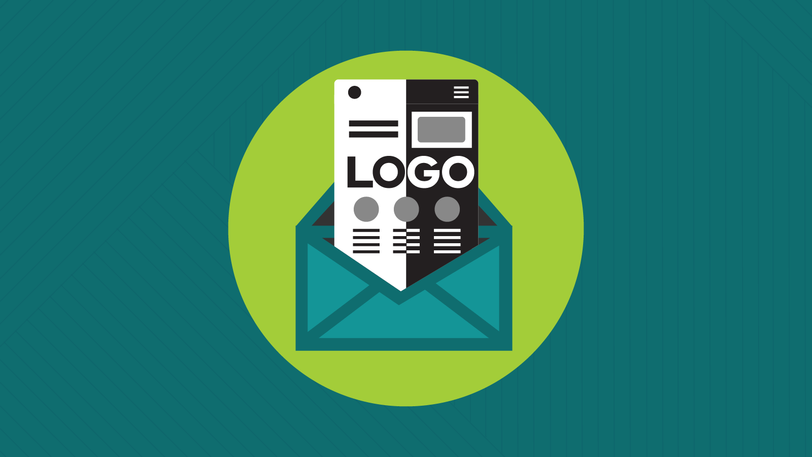 Email emerges from an envelope with logo split in light and dark modes.
